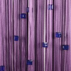 Нитяные шторы однотонные с камешками сливовый TT-720