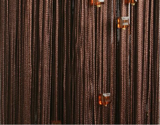 Нитяные шторы однотонные с камешками венге TT-705