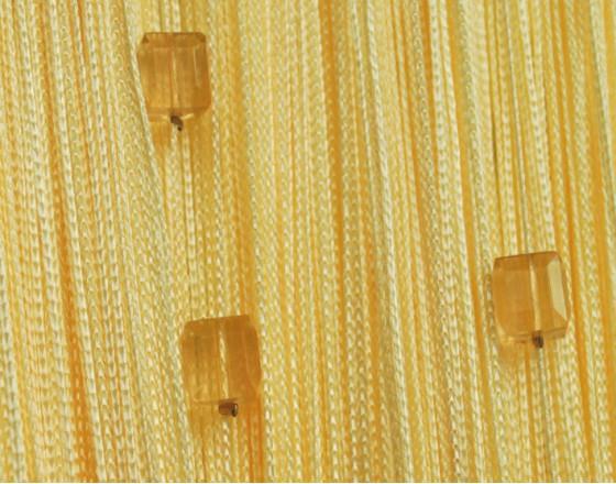 Нитяные шторы однотонные с камешками желтые TT-707