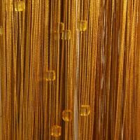 Нитяные шторы однотонные с камешками золото TT-708