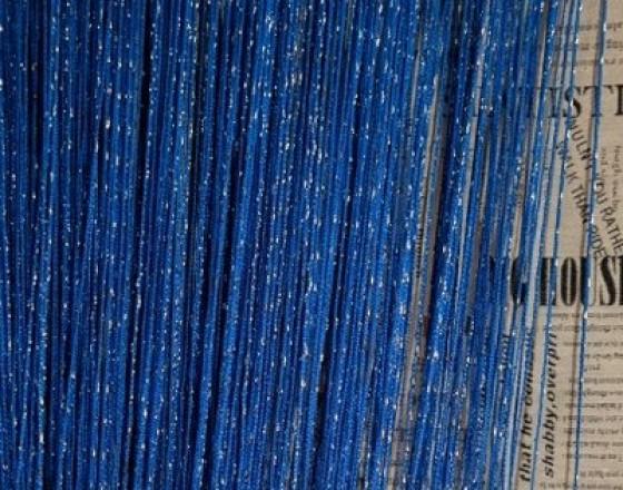 Шторы нити однотонные с люрексом синий TT-25