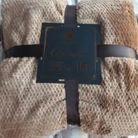 Плед однотонный с узором микрофибра светло коричневый DS-23