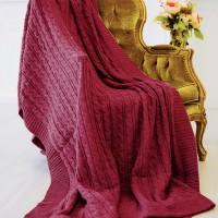 Плед вязаный коса бордовый 220x240 см. Россия