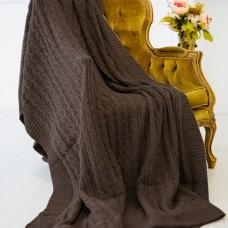 Плед шерстяной вязаный коричневый