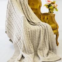 Плед шерстяной вязаный кремовый 220x240 см