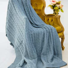 Плед шерстяной вязаный темно голубой