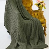 Плед шерстяной вязаный темно зеленый