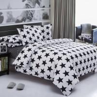 Комплект постельного белья черно белое Black&White звезды B-1001
