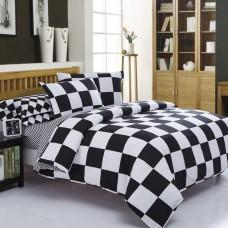 Комплект постельного белья черно белое Black&White шахматы B-1002