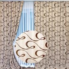 Шторы блэкаут на ленте волна цвет: Бежевый