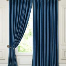 Комплект штор в гостиную блэкаут на ленте ткань Бархат, Синий