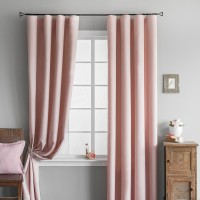 Шторы в гостиную блэкаут на ленте ткань Бархат, Розовый