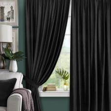 Комплект штор в спальню блэкаут на ленте ткань Бархат, Черный