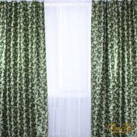 Шторы блэкаут на ленте вензеля Темно-зеленые