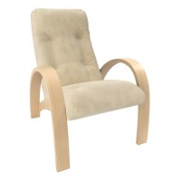 Кресло для отдыха модель S7 каркас Натуральное дерево экокожа Polaris Beige