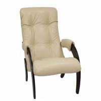 Кресло для отдыха модель 61 каркас Венге экокожа Polaris Beig