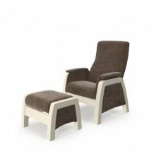 Кресло глайдер с пуфиком модель 101 каркас Дуб шампань ткань Verona Brown