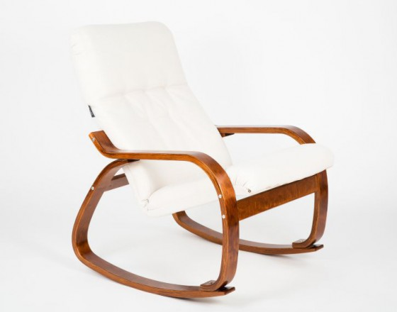 Кресло-качалка Сайма каркас Вишня ткань Гардения
