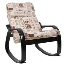 Кресло-качалка Сайма каркас Венге-структура ткань Газета-09
