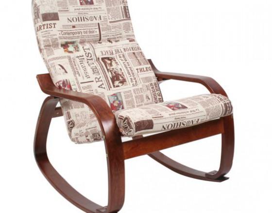 Кресло-качалка Сайма каркас Вишня ткань Газета-09