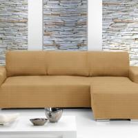 Чехол на угловой диван с выступом справа Европейский Ибица Беж