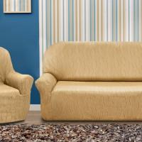 Универсальный чехол на  диван трехместный и два кресла. Тоскана Беж