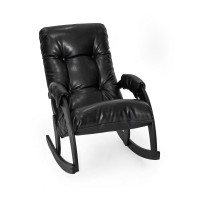 Кресло-качалка 67 каркас Венге, экокожа Vegas Light Black