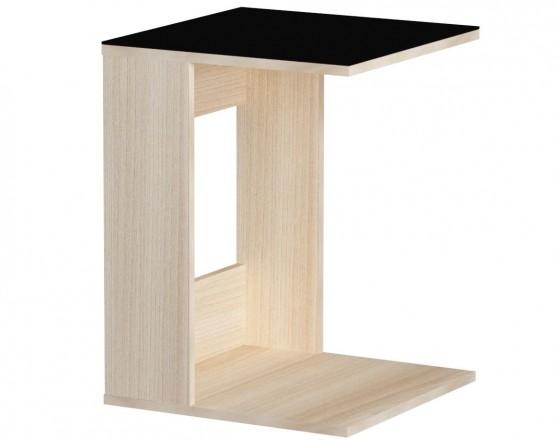 Стол журнальный LS 731, 05.01 (корпус-ясень светл,стекло-черный)