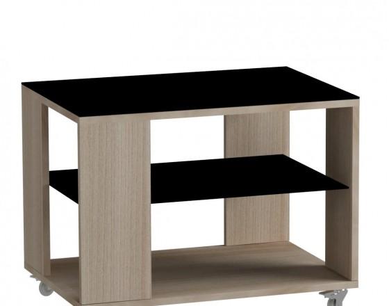 Стол журнальный LS 733, 05.01 (корпус-ясень светлый,стекло-черный)