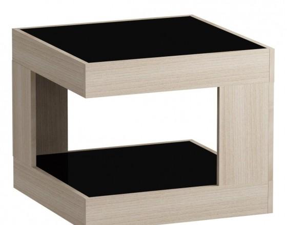 Стол журнальный LS 746, 05.01 (корпус-ясень светл,стекло-черн)