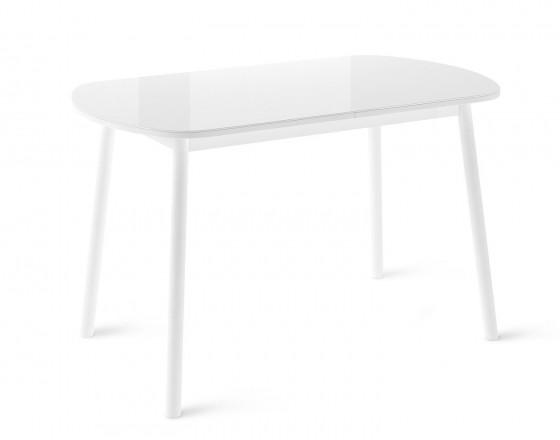 Стол раздвижной Leset Мидел МИ, металл Белый, стекло Белое
