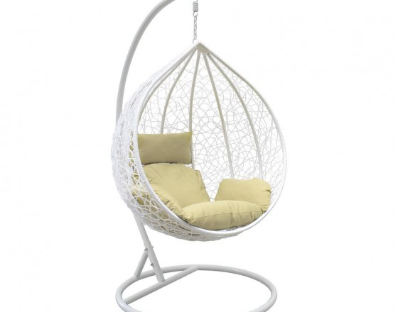 Подвесное кресло LESET ALTAR, каркас Белый, подушка Зелёная