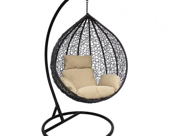 Подвесное кресло из искусственного ротанга LESET ALTAR, каркас Чёрный, подушка Кофейная