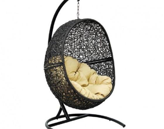 Подвесное кресло-кокон LUNAR Каркас черный, подушка бежевая