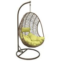Подвесное кресло LESET LEO, каркас Коричневый, подушка Зелёная