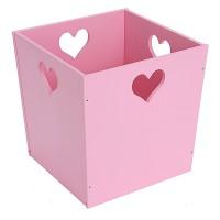 Деревянный ящик для игрушек, розовый с сердечком