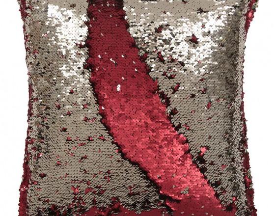 Подушка с пайетками красная