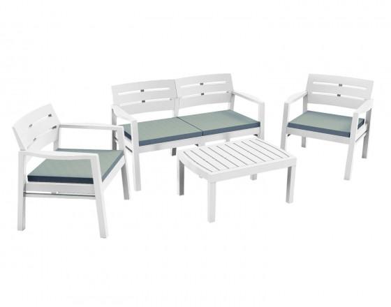 Набор мебели из пластика Java, JAV04CCB, с подушками, белый
