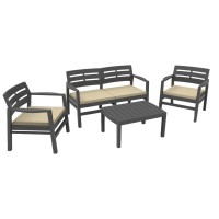 Набор мебели из пластика Java, JAV04CCA, с подушками, антрацит